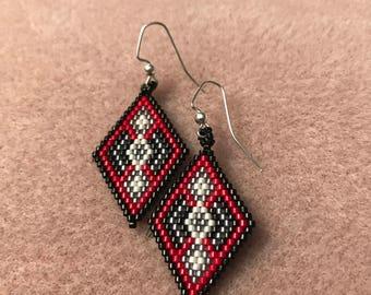 Red and Black Diamond Brick Stitch Earrings