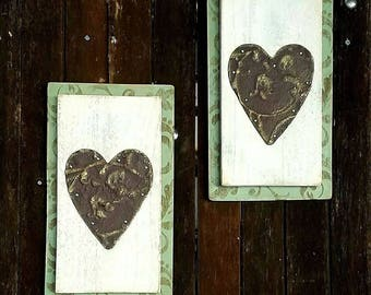 Tin Roof Heart Plaque with Antiqued Stencil and Gold Accents