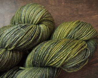 Green Moss Glimmer - hand dyed yarn