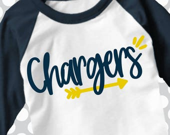 Chargers svg, Arrow svg, chargers Cut File, iron on, football mom, Silhouette, Printable iron on, Digital Download, Cricut, dxf, chargers