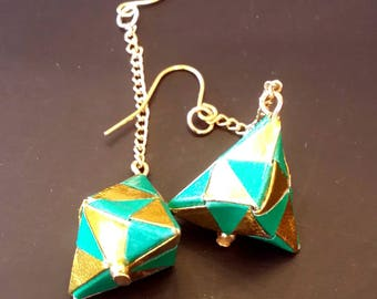 Green and Gold Origami Jewelry - Pyramid Paper Earrings - Paper Jewelry - Moular Origami Earrings-Dange Earrings