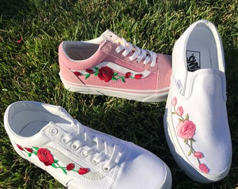Custom Rose Embroidered Vans