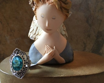 6CT Blue Topaz Sterling Silver Ring