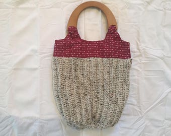 Crochet Arrow Wood Handled Purse
