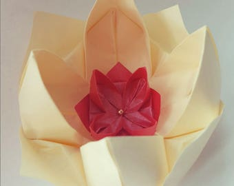 Handmade Origami Lotus Flower, diameter 8cm approx