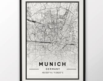 Munich City Map Print Modern Contemporary poster in sizes 50x70 fit for Ikea frame 19.5 x 27.5 All city available London, New York Paris