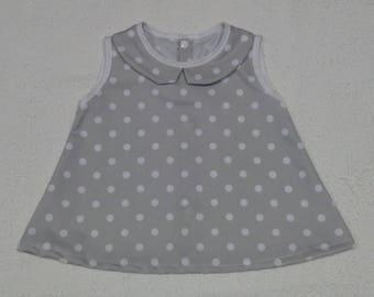 15% discount - Pique dress with Peter Pan collar and polka dot print