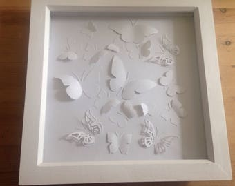 3D butterflies in a boxed frame