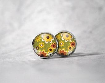 Earrings cabochon 10 mm / flowers Motif