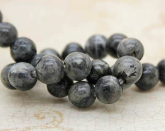 "Chinese Labradorite Smooth Round Gemstone 8mm 10mm Beads (8"" strand - 2.5 mm hole)"