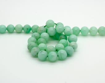 "Natural Chrysoprase Smooth Lime Green Ball Sphere Round Natural Gemstone Beads 15.5"" Strand"