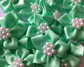5 Mint Green Satin Ribbon Poinsettia Flowers 4cm  - Card Making Embellishments Craft Sewing