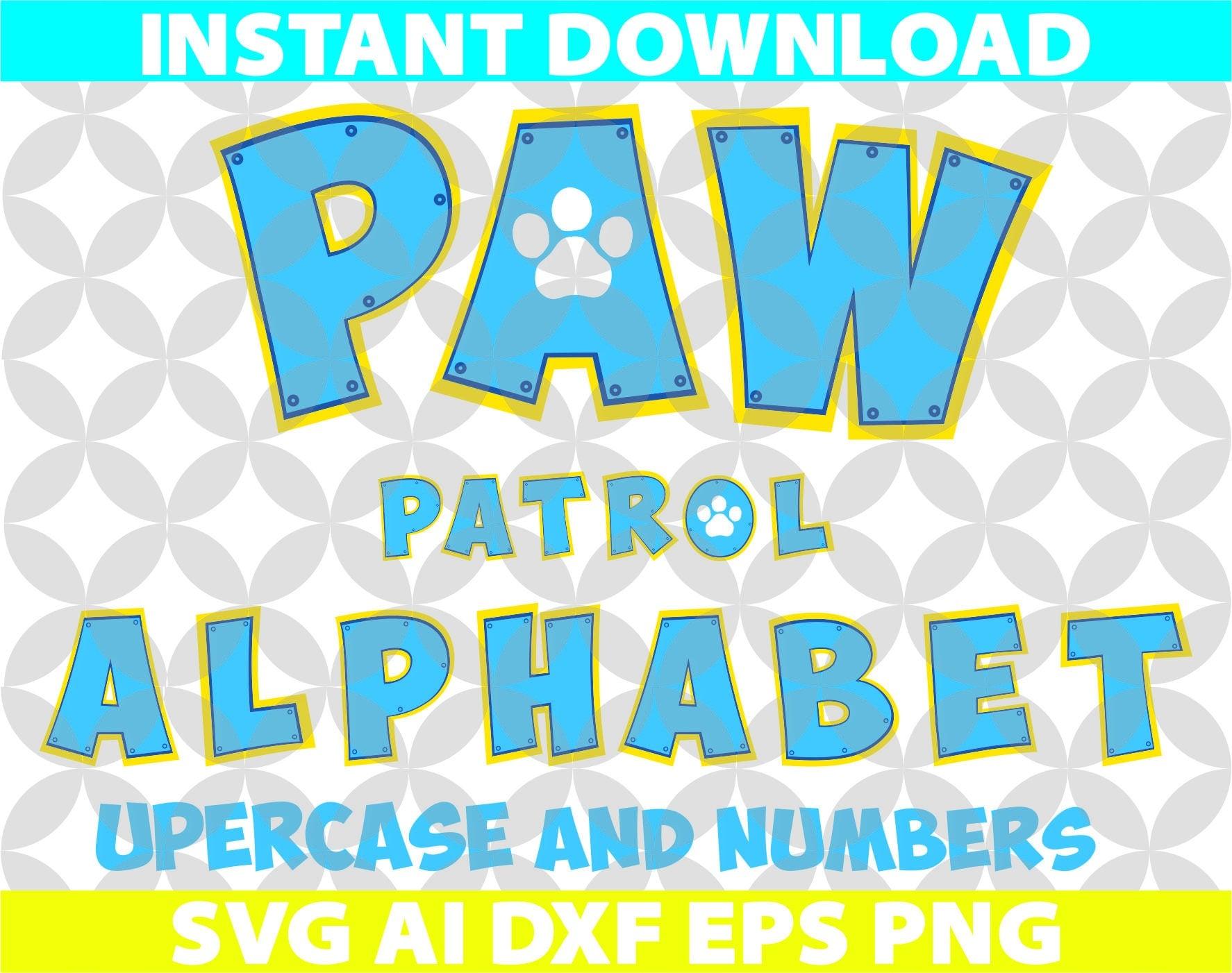 Paw Patrol Color Letters Alphabet SVG Ai Png Eps Dxf Cut