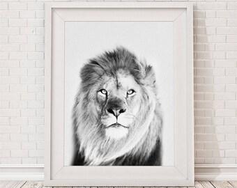 Lion Print, Safari Nursery Animal Print, Black and White, African Animal Printable, Lion Digital Print, Jungle Animal Wall Art, Baby Shower
