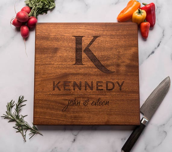 Monogrammed Gift for Couple, Custom Square Cutting Board, Wedding Gift, Personalized, Engraved, Engagement, Anniversary Gift, Housewarming