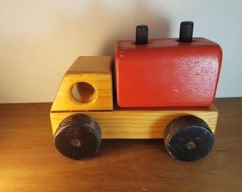 Vintage old wooden toy truck
