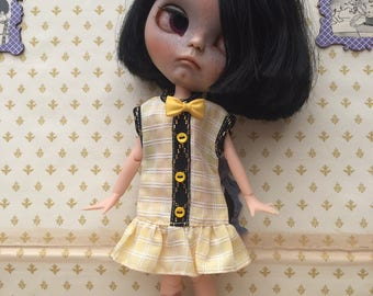 Blythe/Pullip Vintage Dress, 'Liquorice & Lemon Sherbet' Dress For Blythe