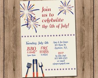 Fourth of July BBQ Custom Invitation personal details fireworks and barbecue party Celebrate the 4th with us 5x7 printable