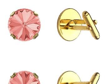 Swarovski Crystal Rose Peach Cufflinks Gold Plated Womens Mens 12mm Rivoli
