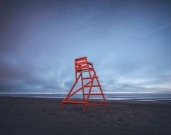 Jacksonville beach lifeguard chair right before sunrise canvas