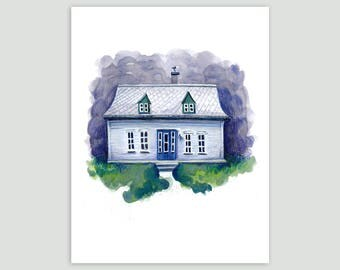 A silver-roofed house on the Gaspé Peninsula – Fine Art Print of Original Mixed Media Drawing