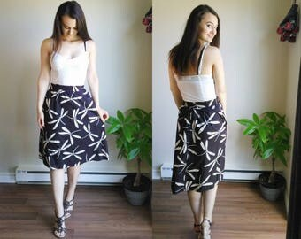 Black Skirt with Pockets / Dragonfly Clothes / Elasticized Waist Skirt / Dragonfly Dress / Black A Line Skirt / High Waist Skirt