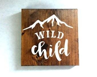 Wild child sign, nursery sign, kids room sign, baby shower gift
