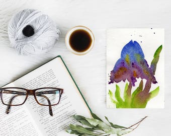Original Watercolor Abstract Painting on Paper, Purple Iris Flowers Painting, Abstract Iris Plant Art, Unique Art Gift