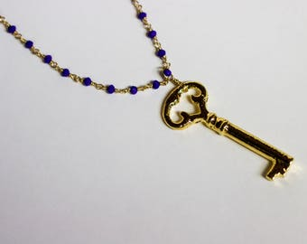 Long Gold Wire Wrapped Necklace with Electroplated Gold Key Pendant