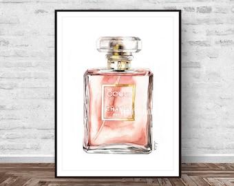 Chanel Perfume print, perfume art, fashion illustration art