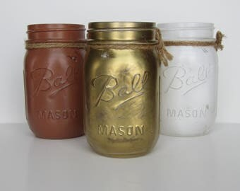 Different Colored Distressed Jars   Perfect Desk Decor