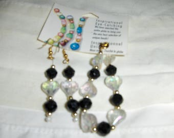 Black and Hearts 2 piece earring and bracelet set