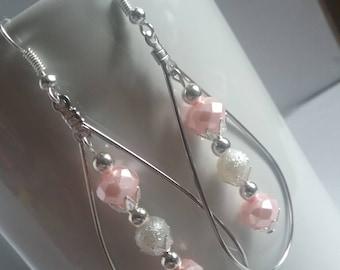 Pink and white tear drop hoop earrings