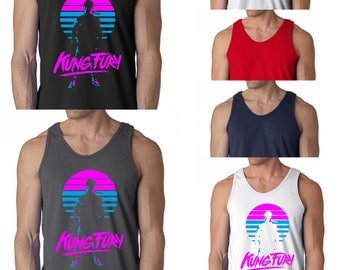 Kung Fury Vest Retro Style Classic Movie 80s Tribute Karate Thai Boxing Gym Training Exercise Men Tank Top Gift S - 2XL