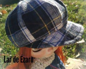 blythe tartan cap,blythe hat, blythe hat, blythe cap, blythe helmet, Blythe beret, Blythe clothes