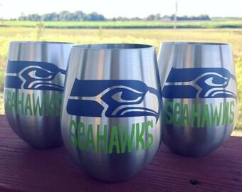 Seahawks Wine Glass, Seattle, Stainless Steel Wine Tumbler