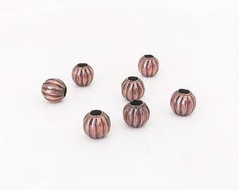 Copper Beads, 6mm, Copper Spacers, Round Beads, Diy Jewelry, Spacer Beads, BCS018