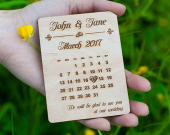 Save The Date Card - Wooden wedding announcement - Save the date magnet - Wooden invitation card