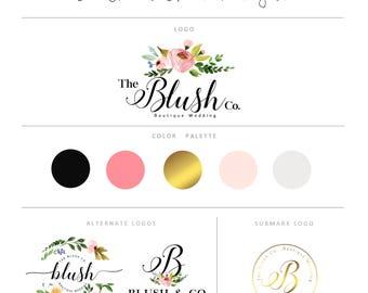 Watercolor logo, Watermark, Photography logo, Calligraphy logo, Custom logo, Premade logo, Floral Logo,Boutique Logo, Gold Foil Logo, Modern