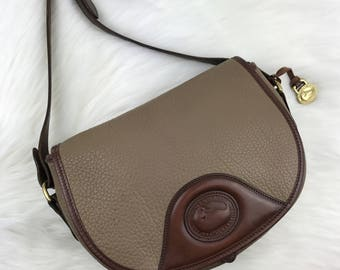 DOONEY & BOURKE Taupe Saddle Crossbody Bag with Brown Trim AWL
