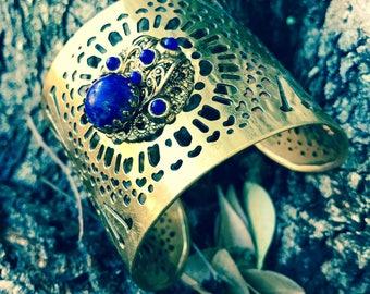 Bold gold dark blue statement cuff bangle
