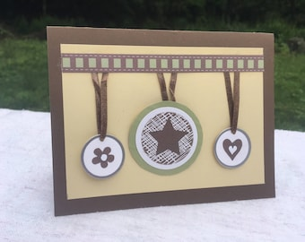 Handmade Greeting Card, Gift for Her, Gift for Him, Gift for Mom, Stars, Flowers, Hearts, Blank Cards for Any Occasion