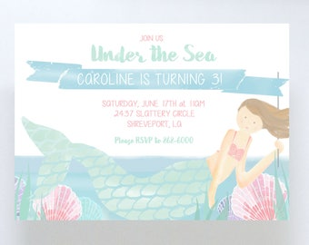 Watercolor Mermaid Invitation/Birthday Party