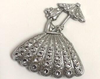 Crinoline lady brooch - staybright, charles horner