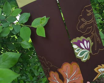 green clergy stole, upcycled embroidered leaves for priest, pastor or minister for ordinary time