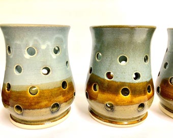 Stoneware Pottery Luminaries, Handmade, 'Earth'
