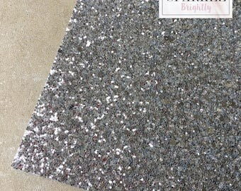 Chunky Silver Glitter Fabric - Craft & Bow Maker Fabric - A4 Sheet