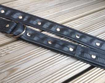 Belt, rubber belt, studded belt, recycled belt, black belt, vegan belt made from recycled rubber inner tube