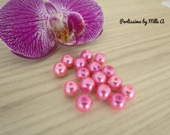 set of 20 8mm Pink Pearl glass beads