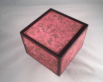 Altered Cigar Box, Keepsake Box, Jewelry Box, Trinket, Pink, Gift, Storage